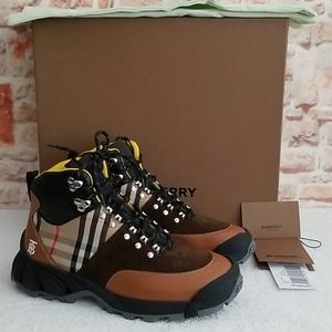 New Burberry Check Hiking Boots